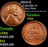 1914-d Lincoln Cent 1c Grades vf, very fine