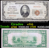 1929 $20 National Currency 'First Wisconsin National Bank Of Milwaukee, WI' Grades vf++