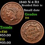 1840 N-4 R3 Braided Hair Large Cent 1c Grades f+