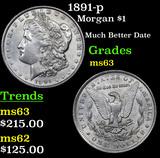 1891-p Morgan Dollar $1 Grades Select Unc