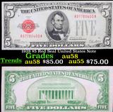 1928 $5 Red Seal United States Note Grades Choice AU/BU Slider