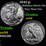 1942-p Walking Liberty Half Dollar 50c Grades Choice AU/BU Slider
