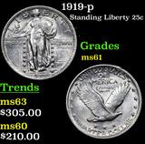 1919-p Standing Liberty Quarter 25c Grades BU+
