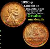 1930-p Lincoln Cent 1c Grades Unc Details
