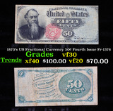 1870's US Fractional Currency 50¢ Fourth Issue Fr-1376 Grades vf++