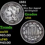 1881 Three Cent Copper Nickel 3cn Grades xf+