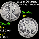 1917-s Obverse Walking Liberty Half Dollar 50c Grades vg+