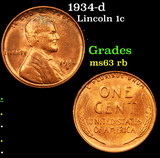 1934-d Lincoln Cent 1c Grades Select Unc RB