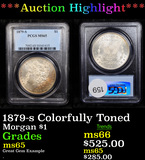 ***Auction Highlight*** PCGS 1879-s Colorfully Toned Morgan Dollar $1 Graded ms65 By PCGS (fc)