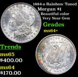 1884-o Rainbow Toned Morgan Dollar $1 Grades Choice+ Unc