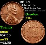 1916-d Lincoln Cent 1c Grades Choice AU/BU Slider