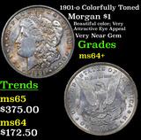 1901-o Colorfully Toned Morgan Dollar $1 Grades Choice+ Unc