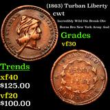 (1863) Turban Liberty Civil War Token 1c Grades vf++