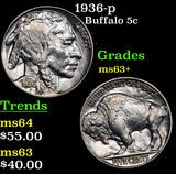 1936-p Buffalo Nickel 5c Grades Select+ Unc
