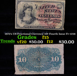 1870's US Fractional Currency 10¢ Fourth Issue Fr-1258 Grades f+