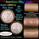 ***Auction Highlight*** Full solid Key date 1892-o Morgan silver dollar roll, 20 coin (fc)