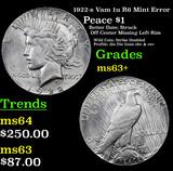 1922-s Vam 1u R6 Mint Error Peace Dollar $1 Grades Select+ Unc
