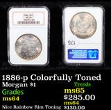 NGC 1886-p Colorfully Toned Morgan Dollar $1 Graded ms64 By NGC