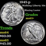 1945-p Walking Liberty Half Dollar 50c Grades Select+ Unc