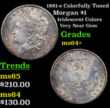 1881-s Colorfully Toned Morgan Dollar $1 Grades Choice+ Unc