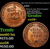 1863 Union For Ever Washington Mounted Civil War Token 1c Grades Choice AU/BU Slider+
