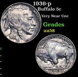 1936-p Buffalo Nickel 5c Grades Choice AU/BU Slider