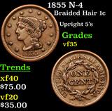 1855 N-4 Braided Hair Large Cent 1c Grades vf++