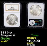 NGC 1889-p Morgan Dollar $1 Graded ms63 By NGC