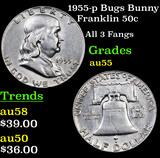 1955-p Bugs Bunny Franklin Half Dollar 50c Grades Choice AU