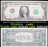 1969A $1 Green Seal Federal Reserve Note (Boston, MA) Grades Gem++ CU