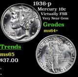 1936-p Mercury Dime 10c Grades Choice+ Unc