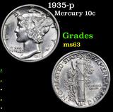 1935-p Mercury Dime 10c Grades Select Unc