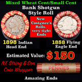 Mixed small cents 1c orig shotgun roll, 1858 Flying Eagle cent, 1898 Indian Cent other end, N.F. Str