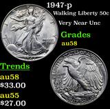 1947-p Walking Liberty Half Dollar 50c Grades Choice AU/BU Slider