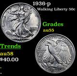 1936-p Walking Liberty Half Dollar 50c Grades Choice AU