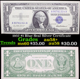 1957 $1 Blue Seal Silver Certificate Grades Choice AU/BU Slider+