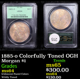PCGS 1885-o Colorfully Toned OGH Morgan Dollar $1 Graded ms64 By PCGS