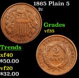 1865 Plain 5 Two Cent Piece 2c Grades vf++