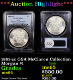 ***Auction Highlight*** PCGS 1883-cc GSA McClaren Collection Morgan Dollar $1 Graded ms64 By PCGS (f