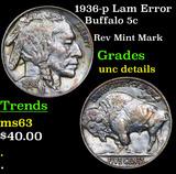 1936-p Lam Error Buffalo Nickel 5c Grades Unc Details