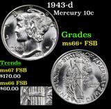 1943-d Mercury Dime 10c Grades GEM++ FSB
