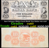 New Orleans 1800's Canal Bank Ten Dollar $10 125F Grades Select CU