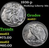 1936-p Walking Liberty Half Dollar 50c Grades Select Unc