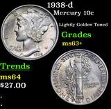1938-d Mercury Dime 10c Grades Select+ Unc