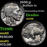 1936-p Buffalo Nickel 5c Grades GEM+ Unc