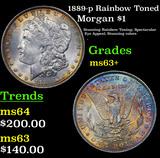 1889-p Rainbow Toned Morgan Dollar $1 Grades Select+ Unc