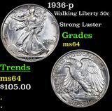 1936-p Walking Liberty Half Dollar 50c Grades Choice Unc