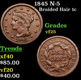 1845 N-5 Braided Hair Large Cent 1c Grades vf+