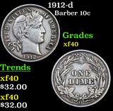 1912-d Barber Dime 10c Grades xf