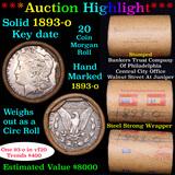 ***Auction Highlight*** Full solid Key date 1893-o Morgan silver dollar roll, 20 coin (fc)